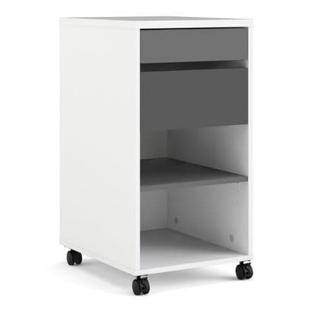 Function Plus Mobile file cabinet 2 drawers + 1 shelf White Grey